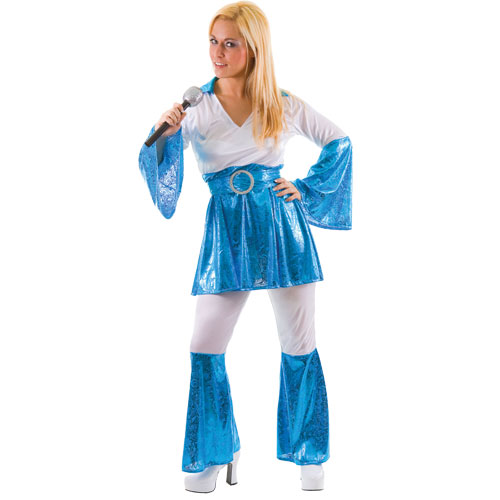 Adults Ladies Mama Mia Bluewhite Costume For Waterloo Disco Pop