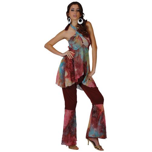 Ladies Hippie Honey Costume Hippy 60s 70s Mod Retro Vintage Classic Fancy Dress