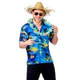 Mens Hawaii Shirt Blue Palm Trees Costume for Hawaiian Tropical Fancy Dress