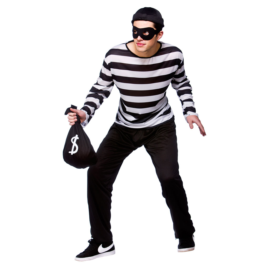 Adults Mens Burglar / Robber Costume for theif Criminal Robber Law Fancy Dress