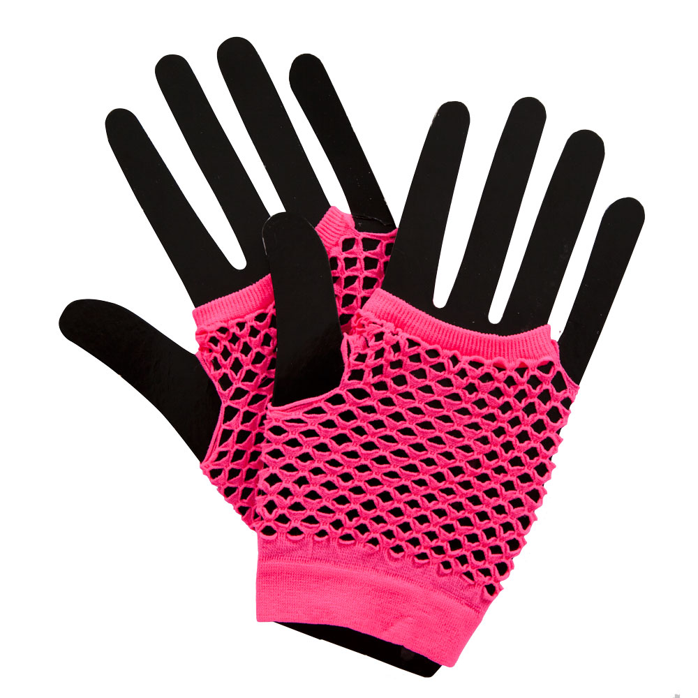 80s Net Gloves Neon for 80s Disco Pop Retro Fancy Dress