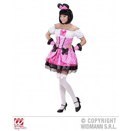 Ladies PINK MOUSE Costume Animal Creature Mickey Danger Mighty Fancy Dress