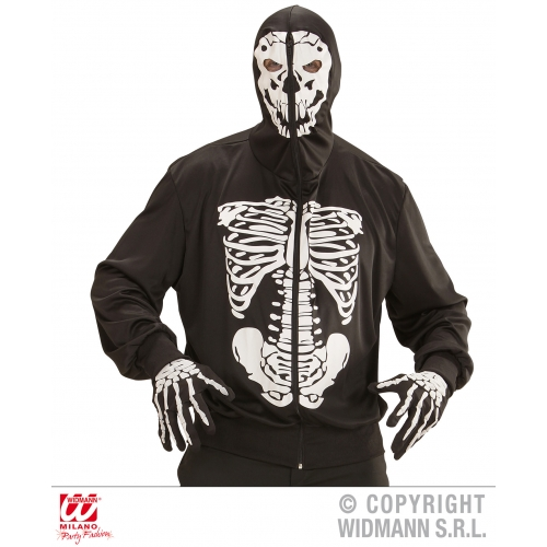 Mens SKELETON HOODIE Costume Living Dead Halloween Skull Pirates Fancy Dress