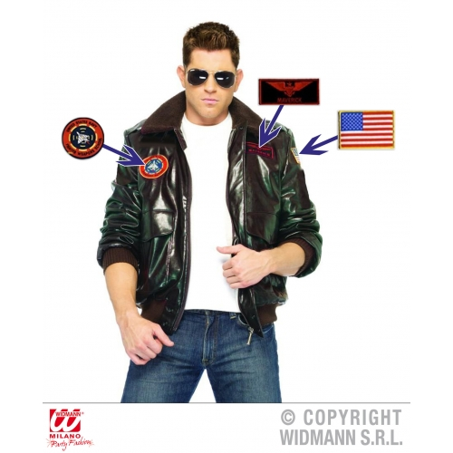 Mens AVIATOR JACKET Accessory for Pilot Crew Airline Air Fancy Dress