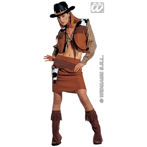 Ladies WESTERN COWGIRL Costume for Wild West Cowboy & Indian Fancy Dress Outfit