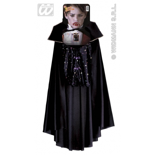 Mens VAMPIRE VEST W/CAPE Accessory for Dracula Vamp Halloween Fancy Dress