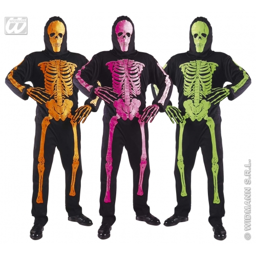 Mens NEON SKELETON 3D Costume Living Dead Halloween Skull Pirates Fancy Dress
