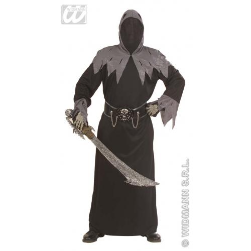 Mens SKULL WARLORD Costume Skeletal Head Skeleton Halloween Pirate Fancy Dress