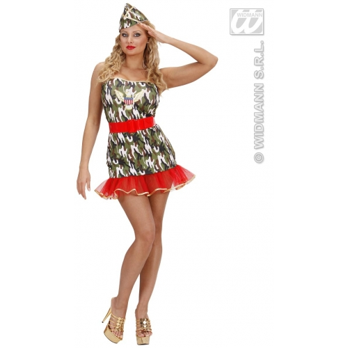 Ladies LYCRA ARMY GIRL Costume for Soldier War Military Fancy Dress Outfit