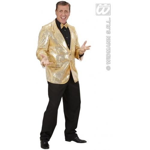 Mens GOLD 60s 70s SEQUIN JACKET Accessory for 60s Rock n Roll Fancy Dress