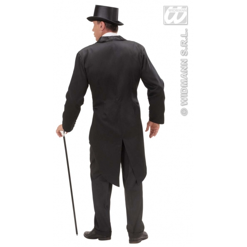 Mens BLK LINED Ringleader Tailcoat COSTUME Circus Ring Entertainer Fancy Dress
