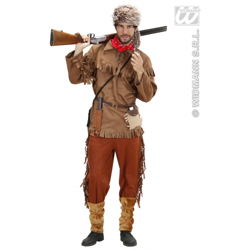 Mens TRAPPER Costume for Cowboy Hunter Wild West Fancy Dress Outfit