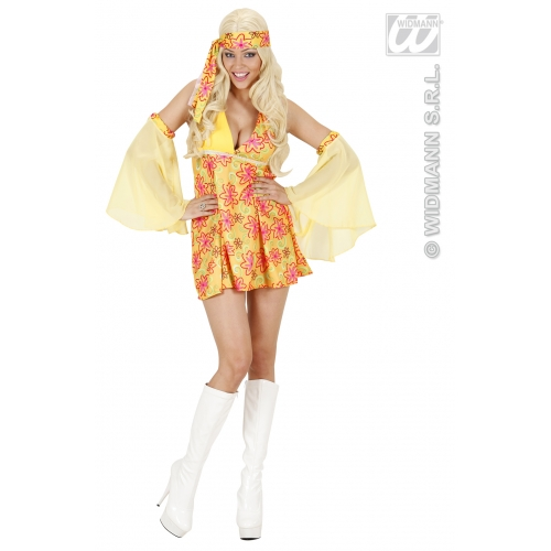 ladies 70s girl yellow costume for 70s disco hippie fancy dress outfit