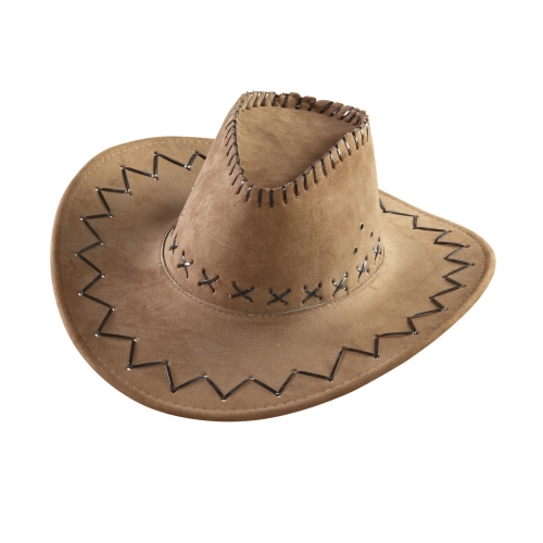 COWBOY HAT SUEDE LOOK Accessory for American Wild West & Indians Fancy Dress