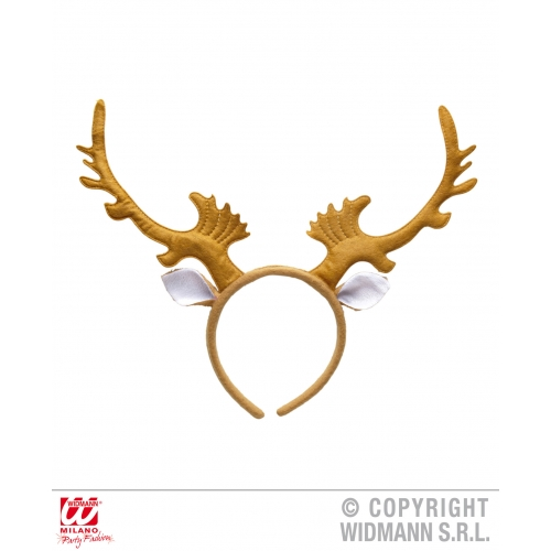 REINDEER HORNS W/EARS Accessory for Christmas Animal Festive Fancy Dress