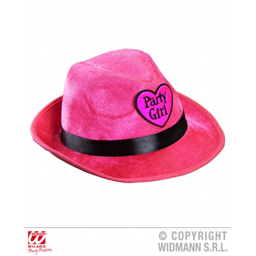 Ladies PINK VELVET PARTY GIRL FEDORA Hat 50s 60s Rockabilly Fancy Dress