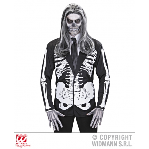Mens SKELETON JACKET Living Dead Halloween Skull Pirates Fancy Dress