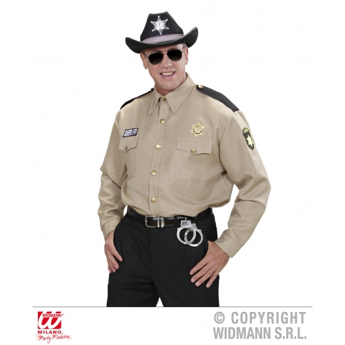 Mens SHERIFF SHIRT Wild West Cowboy Cop Police Bounty Hunter Fancy Dress
