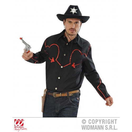Mens COWBOY SHIRT W/SEQUIN DEC American Wild West & Indians Fancy Dress