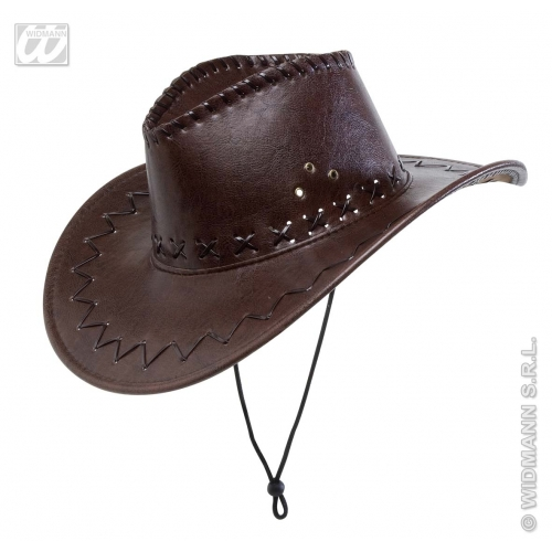 LEATHERLOOK COWBOY HAT Accessory for American Wild West & Indians Fancy Dress