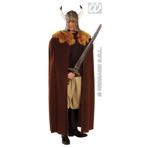 BROWN WARRIOR CAPE PLUSH COLLAR 140 cm Roman Greek Centurion Soldier Fancy Dress