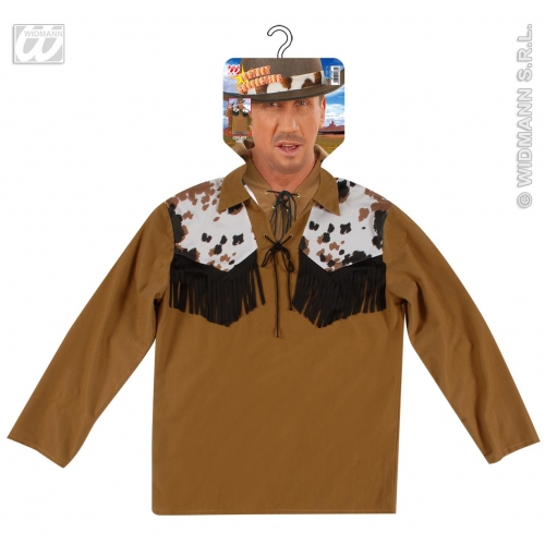 COWBOY SHIRT BROWN Accessory for American Wild West & Indians Fancy Dress