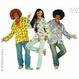 Mens HIPPIE FLOWER SHIRT VELVET Hippy 60s 70s Mod Retro Vintage Fancy Dress