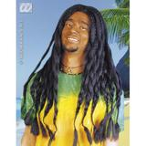 RASTA WIG BLACK Accessory for Rastafarian Jamaican Tropical Fancy Dress