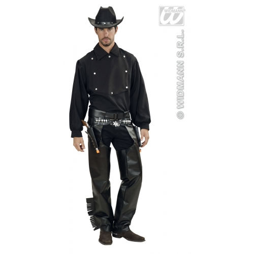 Mens COWBOY SHIRT BLACK Accessory for American Wild West & Indians Fancy Dress