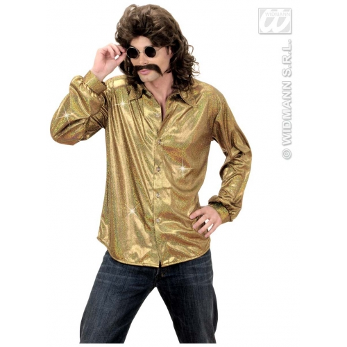 Ladies 70s HOLOGRAPHIC SEQUIN SHIRT GOLD 70s Disco Hippie Fancy Dress