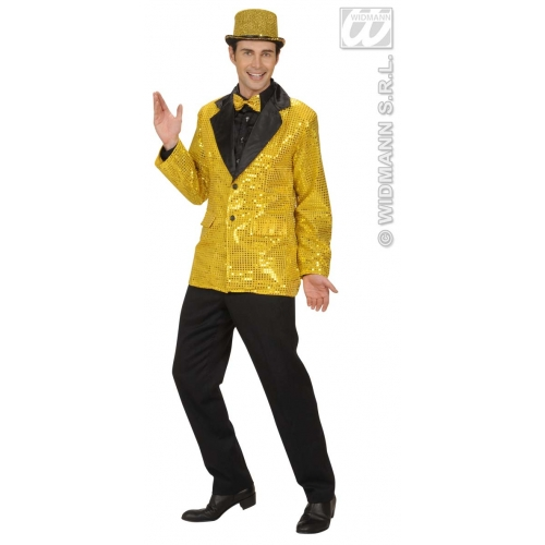 Mens PERMER SEQUIN JACKET W/SATIN COLLAR GOLD Hollywood Show Fancy Dress