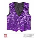 Mens PURPLE PERFORMER SEQUIN VEST Accessory for Hollywood Show Fancy Dress