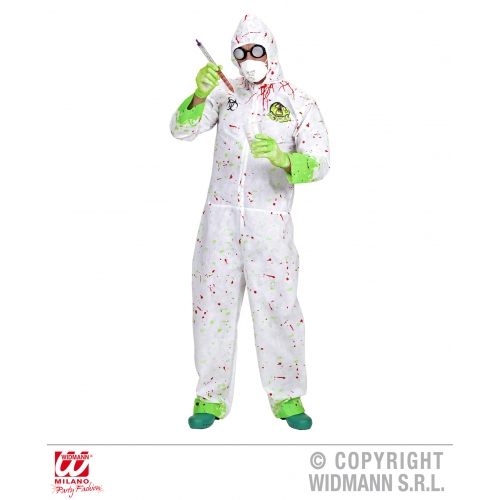 Mens BIO HAZARD/DR TOXIC Costume for Alien NASA Space Fancy Dress Outfit