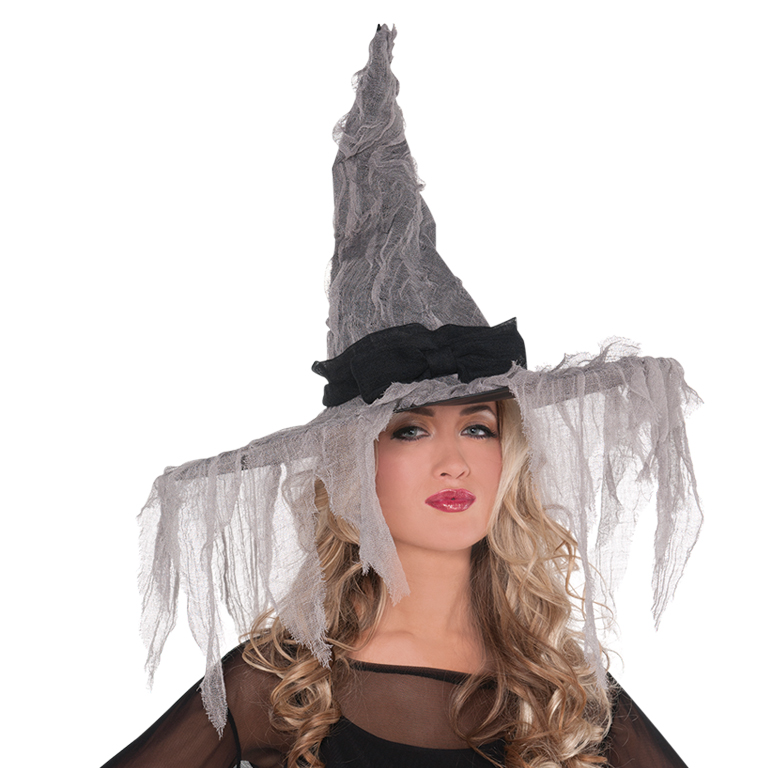 Tattered Witch Hat Accessory for Halloween Fancy Dress