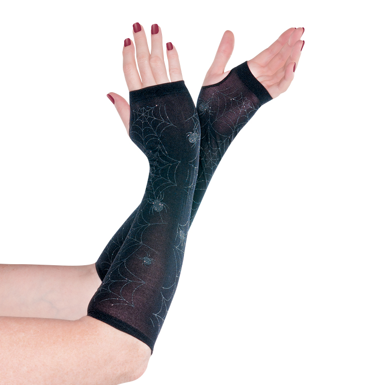 Sheer Black Warmer Gloves Accessory for Emo Fancy Dress