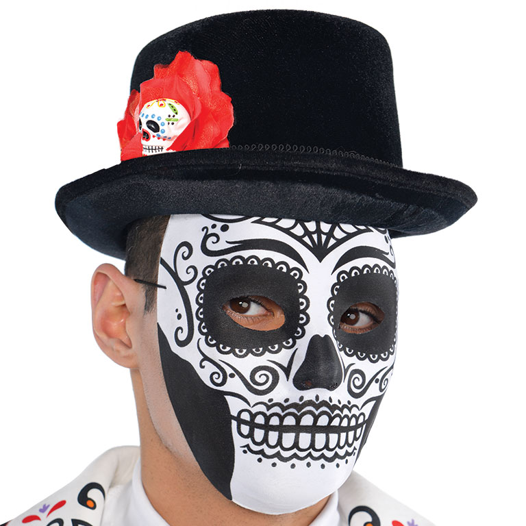 Tophat Mens Day Of The Dead Accessory for Halloween Fancy Dress