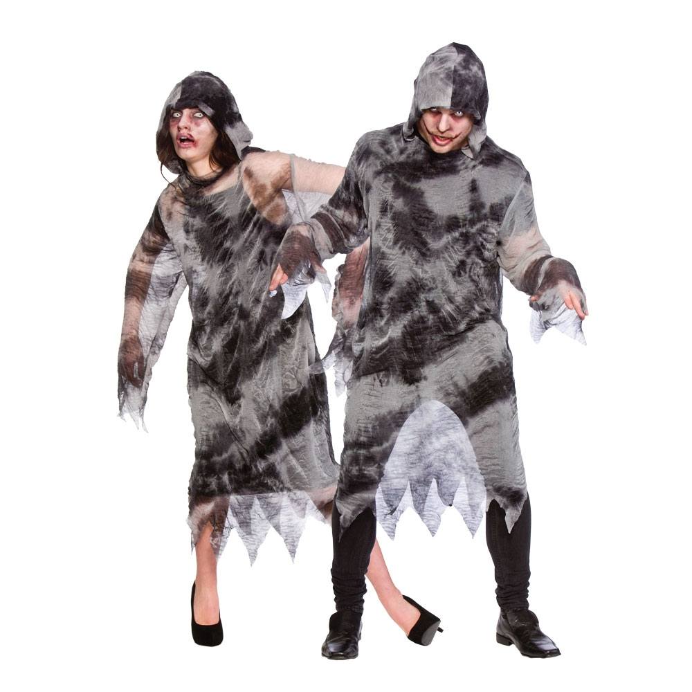 Mens Zombie Robe With Hood for TWD Halloween Living Walking Dead Fancy Dress
