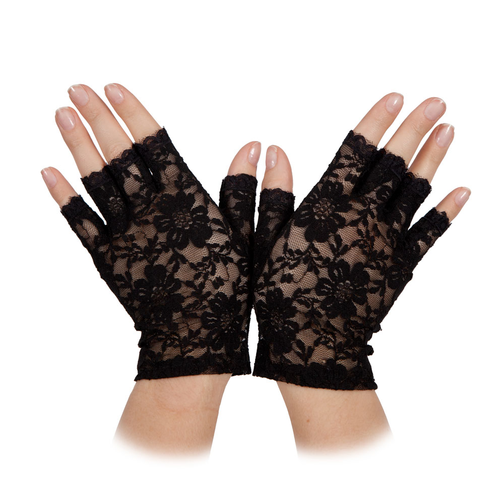 Ladies Short Lace Victorian Gloves (Fingerless) Black for Edwardian Fancy Dress