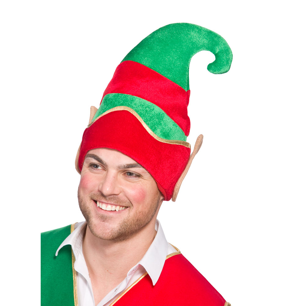 Deluxe Elf Hat With Ears for Festive Dwarf Christmas Helper Fancy Dress