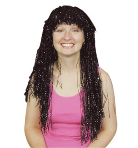 Adult Ladies Crinkle Tinsel Wig for 80s Space Fancy Dress Accessory