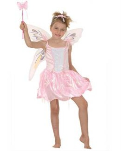 Childrens Girls Fairy Pink Costume for Fairytale Fancy Dress