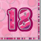 Birthday Glitz Age 18 Lunch Napkins for Party Decoration