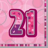 Birthday Glitz Age 21 Lunch Napkins for Party Decoration
