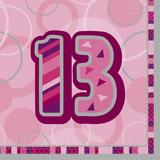 Birthday Glitz Age 13 Lunch Napkins for Party Decoration
