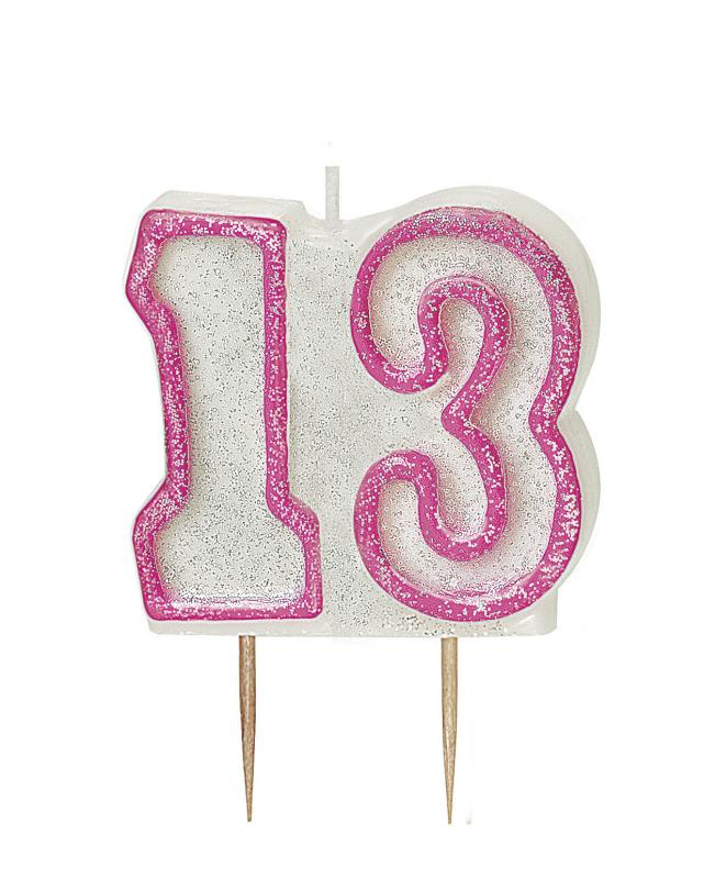 Glitter Birthday Age 13 Candles Candle Cake Decoration Party