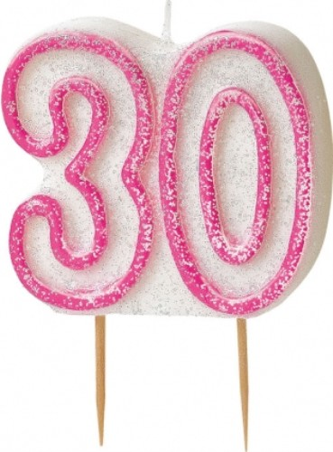 "Age ""30"" Glitter Candle Birthday Party Cake Decoration"