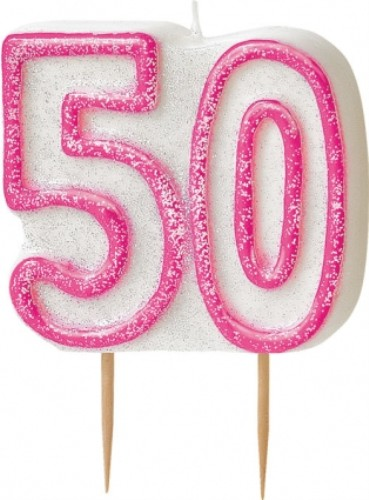 Age 50 Glitter Candle Birthday Party Cake Decoration