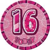 Pink Prismatic Age Birthday Badge Age Party Favor Favour Badge
