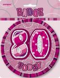 Pink Prismatic Birthday Badge Age Party Favor Favour Badge