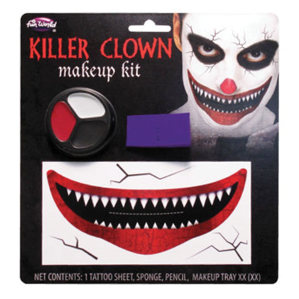 Killer Clown Makeup Kit Costume for Halloween Circus Fancy Dress Outfit